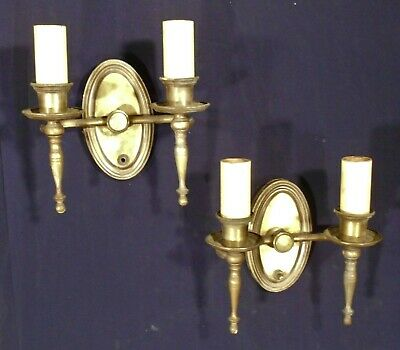 PAIR EARLY 20th CENTURY BRASS DOUBLE ARM TORCHIERE SCONCES