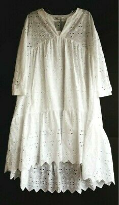 956983f1c5 NWT Zara White Eyelet Peasant Dress 3/4 Sleeve High Low Hem Dress XS Retail