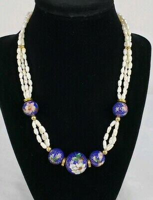 Fine Vintage Chinese Export Gilt Cloisonne 3 Strand Baroque Pearl Necklace Deco