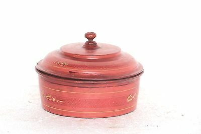 Old Cane Box Vintage Lacquer Burmese Collectible Decorative N-57