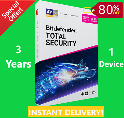 Bitdefender Total Security 2019 /2020-1 Device 3 Years-Download-INSTANT DELIVERY