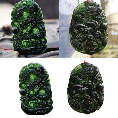 Chinese Natural Black Green Jade Necklace Pendant Dragon Good Lucky Amulet Gift