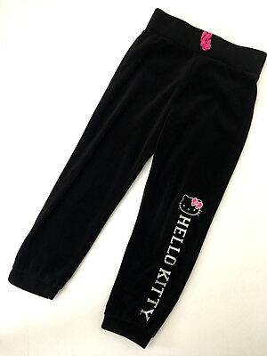 c69676eef HELLO KITTY Girls Sz 6 6X BLACK VELOUR Athletic Sweat Pants Pink Silver  Glitter