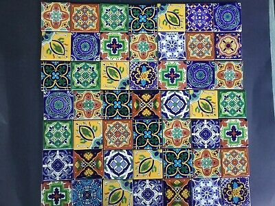 MEXICAN TALAVERA TILES x 50 ( 5cm x 5cm each ) set G