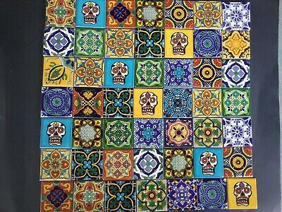 MEXICAN TALAVERA TILES x 50 ( 5cm x 5cm each ) set J