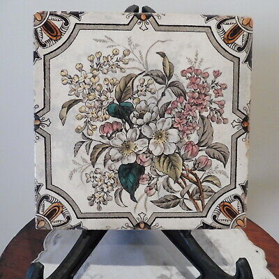 Antique Very Old Possibly Victorian Floral Ceramic Tile