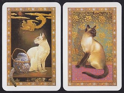 2 Single GENUINE Swap/Playing Cards CATS SIAMESE +  PHOENIX BIRD Ivory Art