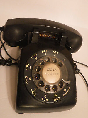 Vintage Western Electric BELL System TELEPHONE Black Desk Top ROTARY DIAL Phone