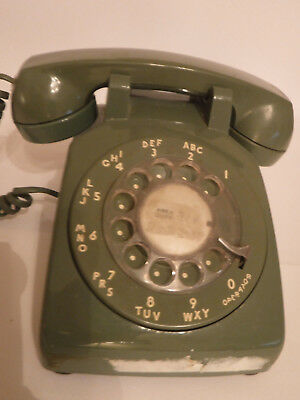 Vintage Western Electric BELL System TELEPHONE Green Desk Top ROTARY DIAL Phone