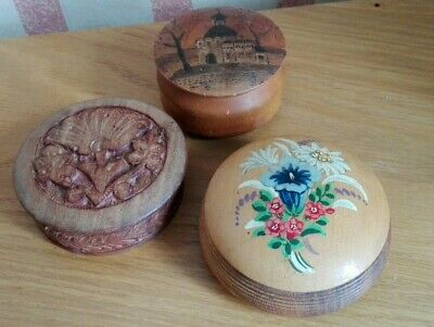 Three Small Round Wooden Trinket Boxes Vintage Style Trio ID0383