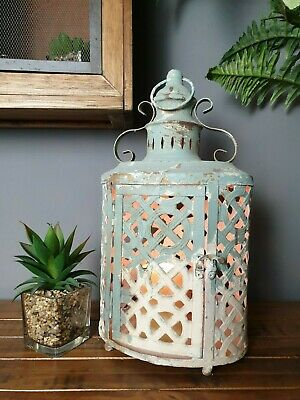french vintage style distressed lantern candle holder shabby chic country home