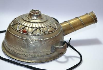 Antique Middle Eastern Silver and Brass tea pot Engraved Hand carved coffee Pot