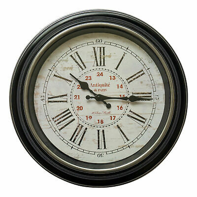 40cm Black Silver Antique Style Roman Numerals Ribbed Round Wall Clock Home