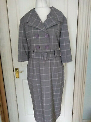 Bettie Page Clothing Grey & Pink Plaid 1950s Style Wiggle Dress & Belt 16 Pin Up