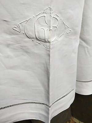 Vintage French Pure Linen Sheet hand embroidery G.B Fab Quality-Double-3mtrx2m40