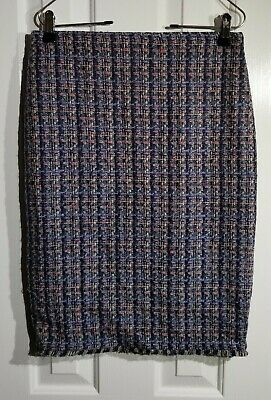 12b613e38a Ann Taylor Women's Skirt Tweed Multi Color Fringe Pencil Lined Size 2