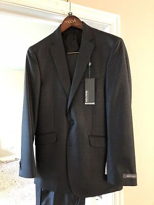 Mens NWT KENNETH COLE REACTION SLIM FIT Grey 2 Pc Suit, Sharp! 38R 31W