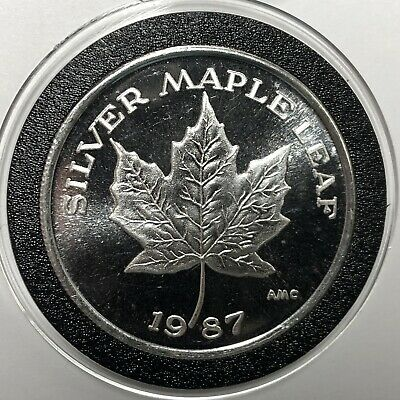 1987 Maple Leaf USA 1 Troy Oz .999 Fine Silver Collectible Coin Round Medal 999
