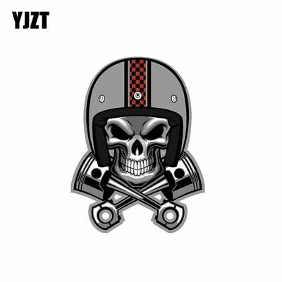 YJZT 9.5CM*12.6CM Creative Cafe Racer Skull Pistons Helmet Car Sticker Decal …