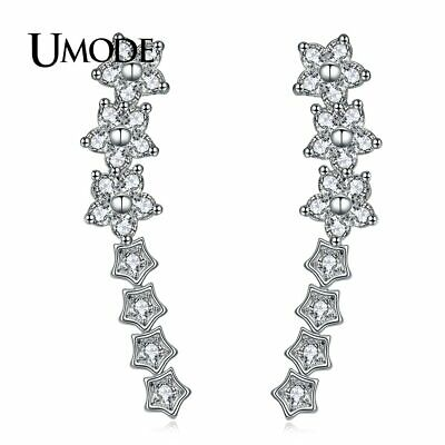 UMODE Brand Design Flower Stud Earrings for Women Silver Color Fashion Jewelr…