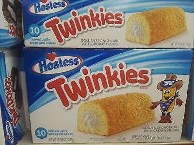 Lot Of 2 Hostess Twinkies Golden Sponge Cake With Creamy Filling 10 Ct. Yummy!