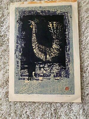 TAMAMI SHIMA 1961 JAPANESE WOODBLOCK Original Print - Bird  Signed No 34/100