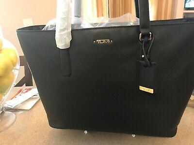 TUMI  Black  Business Leather Tote Travel Laptop Small