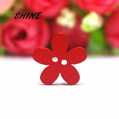 SHINE 100PCs Wooden Sewing Button Scrapbooking Flower Mixed Two Holes 15mm Co…