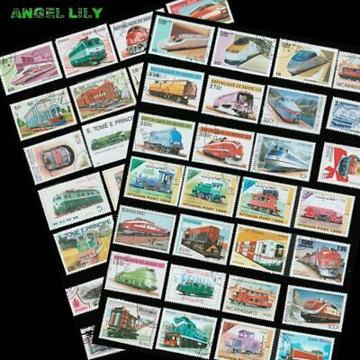 50 PCS/lot All Different Diesel Electric Trains Topic Postage Stamps With Pos…