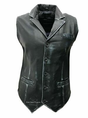 Men's Navy Blue Vintage Style Exclusive Formal Classic Real Leather Waistcoat