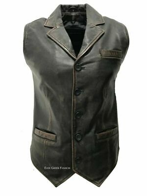Men's Black Vintage Style Exclusive Formal Classic 100% Real Leather Waistcoat