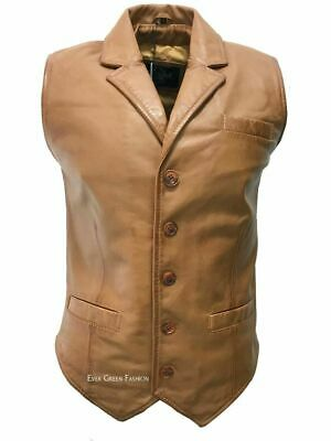 Men's Tan Very  Exclusive Style Casual Classic 100% Soft Real Leather Waistcoat