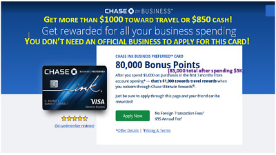 Get 85,000 Points when you sign up for the Chase Ink business Preferred card!