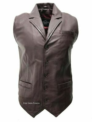 Men's Cherry Very Stylish Exclusive Casual Classic100% Real Leather Waistcoat