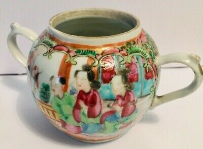 Antique Chinese Export Famille Rose Two-Handled  Porcelain Pot- 7.6 Cms High