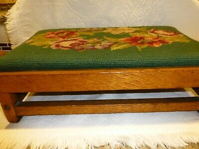 Unusual Arts & Crafts Style Antique Footstool W Green Floral Needlepoint Cover