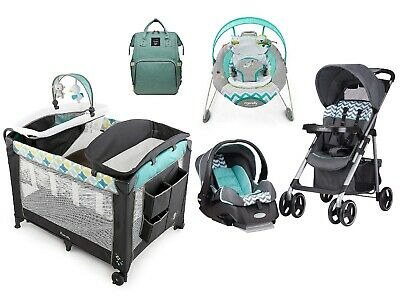 Baby Travel Set Diaper Bag Stroller with Car Seat Playard Infant Smart Bouncer