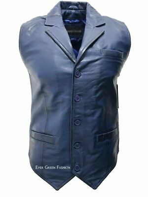 Men's Royal Blue Exclusive Style Classic Body FItted Real Leather Waistcoat