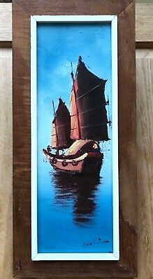 Vintage Mid Century Seascape Oil on Canvas Painting of a Chinese Junk Boat