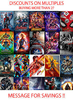 Marvel MCU Movie Posters HD Prints A3 A4 Iron Man Avengers Spider Man 97 Types