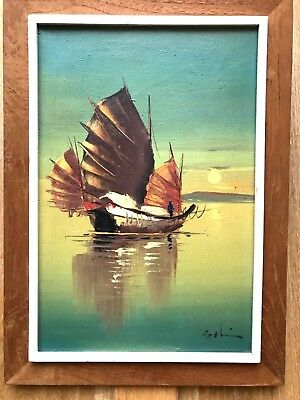Vintage Mid Century Seascape Oil on Canvas Painting of Chinese Junk Boat Picture