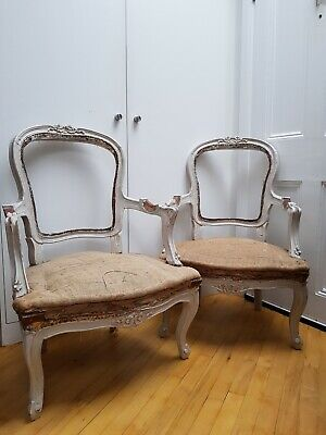 Pair of Antique French Louis XV Style Armchairs, Painted Requiring Re-upholstery