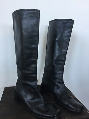 """507298a2b Authentic GUCCI Women's Leather Boots Sz 7.5 B Riding 17"""" Tall Black Made  Italy"""