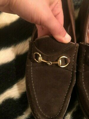 1826429ba VINTAGE GUCCI LOAFERS Brown Suede gold Horsebit Womens size 9 B Lug ...