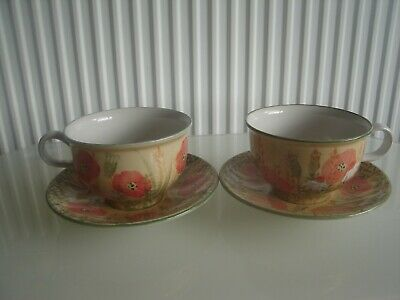 Tain Pottery Kirksheaf  Breakfast Cup and Saucers Poppies Large