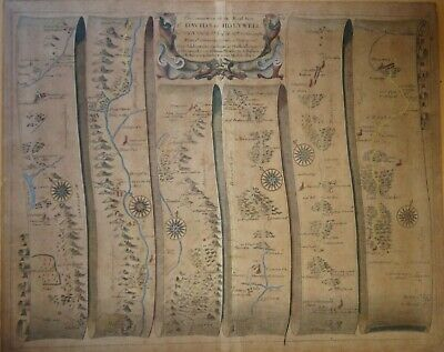 Original Ogilby Road Map St Davids - Holywell # 67  Hand Col  C1675 Antique