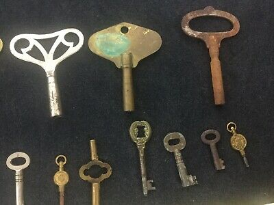 Joblot old Antique Vintage Clock Keys Winding Mantle Lock Movement