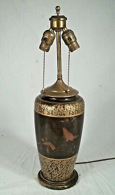 VINTAGE EARLY 20th CENTURY ORIENTAL ASIAN BLACK+GOLD DECORATED CERAMIC LAMP