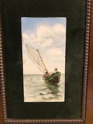 Antique Framed Early 1900s Hand Painted Sailing Ship Nautical Tile Wall Art