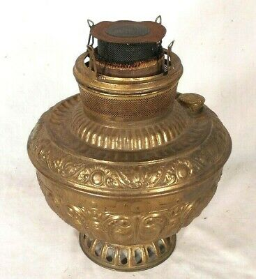 Antique Victorian Embossed Brass Hanging Country Store Oil Lamp Font